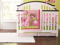 Wholesale Baby Bedding Comforters - Promotion! 4PCS Embroidery Baby Quilt Baby Bedding Nursery Comforter Cot Crib Bedding Set (bumper+duvet+bed cover+bed skirt)