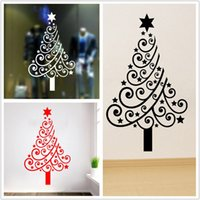 Wholesale Christmas Tree For Wall - 2017 New Christmas Tree Shape Wall Sticker Glass Stickers Removable Christmas Home Party Window Decoration 42*60CM