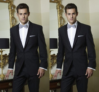Wholesale White Italian Suits - Hot Sale 2017 One Button Groom Wear Italian Suits Wedding Jacket+Pants+Tie Mens Wedding Tuxedos Custom Made