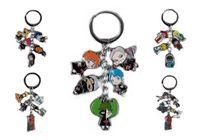 naruto llavero anime al por mayor-Llaves de metal de Naruto Llavero Colgantes Llaveros Anime Cartoon Charms con anillo 5 colgantes para regalos de Navidad