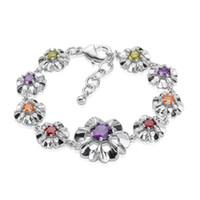 Wholesale Dainty Bracelets - Dainty Flower Charm Bracelet 18K White Gold Plated Bracelet Multicolor Zircon Bracelet for Women Adjustable Chain