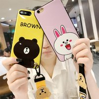 Wholesale Iphone Gel Case Cute Designs - Soft Silicone Gel Phone Shell For Iphone 6 7 8 Catoon Fashion Design Case With Cute Phone Rope Opp Package Christmas Gift 2017