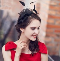 Wholesale Black Feather Headpieces - 2017 Black Banquet Party Prom Evening Hat Women Korean Version Retro Feather Bow Bride Headdress Headpieces