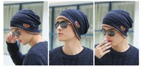 Wholesale Knitted Hats Tags - a new beanie for men and women fashion personality mountaineering outdoor fishing knitting wool presonality tags all-match six colors