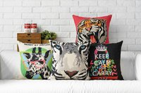 Wholesale Giraffe Throw - Free shipping Novelty gift cool tiger head giraffe keep calm and carry on word pattern linen cushion cover home decorative throw pillow Case