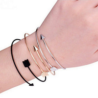 Wholesale Gold Arrow Bracelet Wholesale - Fashion Bangles Jewelry Unisex Arrow Bracelets Adjustable Open Cuff Bracelet Stainless Steel Bangle Gold Silver Black