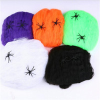 black house spiders - Halloween Spider Web net decoration Bar Party Haunted House festival Decoration Spider Cotton webs colors blue purple green black whit