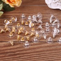 gümüş küpeler toptan satış-Yüksek Kalite Küpe Kulak Damızlık Backs Tıpalar Kulak Sonrası Kuruyemiş Takı Bulguları Bileşenleri Altın Gümüş Earnuts Küpe Geri Aksesuarlar DIY