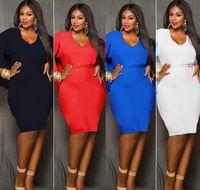 elbiseli elbiseler toptan satış-Kırmızı Mavi Siyah Beyaz Artı Boyutu Pelerin Elbise Moda Kadın O Boyun Panço Pelerin Elbise Batwing Kol Bodycon Seksi Diz Boyu Parti Elbise L-XXXL