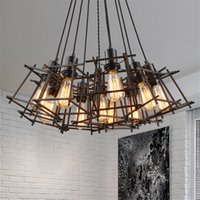 Wholesale Lighting Fixtures Cages - American Loft Vintage pendant light Personality Wrought Iron lights Edison nordic lamp industrial cage lamp retro hanging lighting fixtures