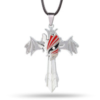 Wholesale Bleach Pendant - Popular Dead Necklace Fashion Anime Cosplay Bleach Pendant Necklace Black Leather Rope Dual Purpose Jewelry Key Chain