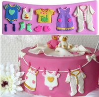 Wholesale 3d Baby Cake Mould - 1 PC 2015 Pop 3D Baby Clothes Shower Silicone Mould Fondant Kitchen Cake Mold for Chocolate Baking Tool