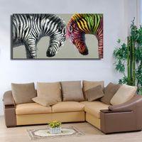 zebra wandmalereien großhandel-Zwei Zebra Kopf an Kopf Handgemachte Ölgemälde auf Leinwand Schöne dekorative Bilder Wohnzimmer Wand-Dekor Kostenloser Versand No framed