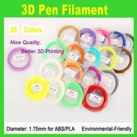 Wholesale 3d Printers Wholesale - Hot sale PLA Filament 1.75mm 20 different colors 5 meters each color all 3D Pen Filament 3D Printer SGS Approval Material