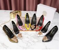 robes de soirée de luxe achat en gros de-Chaussures de marque de luxe pour femmes Medusa talons hauts noir en cuir véritable Pointu Toe Pumps femme Robe de soirée chaussures