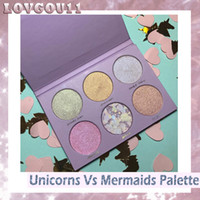 Wholesale Nail Wear - Tooth & Nail Cosmetics UNICORN Vs MERMAID Eye Shadow Highlighter Palette 6 Colors Makeup Bronzers Highlighters Powder Free Shipping 660246-2