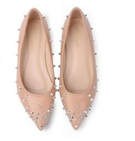 Wholesale Ladies Party Wear Shoes - 2017 new flat with a pointed high-grade wear-resistant rubber non-slip soles elegant rivets invisible high-heel ladies shoes 35-40 yards
