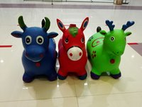 Wholesale Pink Child Riding Horse - Children riding free shipping Children's inflatable toy deer jumping Makati thick increase cattle baby toys musical plastic
