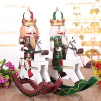 Wholesale Mascot Soldier - Christmas rocking horse nutcracker soldiers H30cm home decoration the nutcrackers mascot wooden puppet toy gift for children