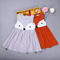 Wholesale Toddler Sweet Lace Dresses - INS Sweet Toddler Kids Girls Fox Style Casual Dresses Ruffles Sleeveless Fall Winter Fashion Dresses Orange Color Christmas Dress