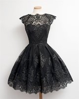 Wholesale Cheap Briefs Women - Black Lace Real Picture A Line Prom Dresses Cheap Homecoming Dress 2017 Hot Sale Cap Sleeve Lace Applique Elegant Evening Dress In Stock