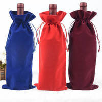 Wholesale wood door decorations - Solid Color Gift Pouches Creative Flannelette Red Wine Bag For Wedding Decoration Drawstring Bags Hot Sale 2 3jla B R