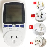 Wholesale energy outlets - Electronic Power Meter Digital LCD Display Time Volt Ampere Watt Energy Cost Power Factor Power Analyzer EU German Standard Outlet Socket