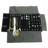 halskette lagerrolle großhandel-Modeschmuck Rollenhalter Fällen Halskette Aufbewahrungstasche Ring Reiseveranstalter Tragbare Reise Kombination Ohrring Rolle Tasche