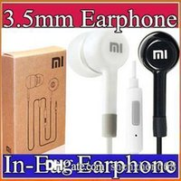 Wholesale Black Ear Headphones - 2016 3.5mm Smart Phones Earphone xiaomi In-Ear Earphone headphone With Mic and Remote headphone white black with retail box I-EM
