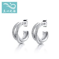 Silver sparkle hoop earrings - S925 silver earrings female Sparkling earrings silver earrings European style Simple and elegant high quality jewelry