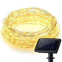 painel solar interno venda por atacado-200 LEDs À Prova D 'Água Movido A Energia Solar Starry String Fio de Cobre Luzes de Iluminação de Fadas Do Partido com Grande Painel Solar para Decoração Interior / Exterior