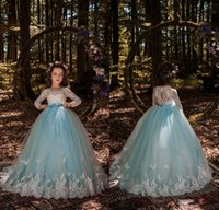 Wholesale Design For Girl Dresses - 2018 Newest Design White Sky Blue Lace Flower Girls Dresses Bow Sash Butterflies Long Pageant Gowns for Teens Custom Made