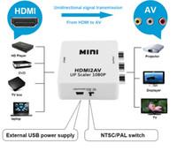 vga ntsc adapter großhandel-2016 HDMI Schnittstelle Mini HD Video Converter Box HD zu AV / CVSB Video HDMI zu AV Adapter HDMI2AV Unterstützung NTSC und PAL-Ausgang