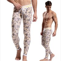 Wholesale Colorful Thermal Underwear - Wholesale-Print long johns sexy printed long johns pants colorful cotton lucky john good quality thermal underwear