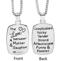Wholesale Engraved Copper - The Love Between Mother And Daughter Engraved Pendant Necklace Square Box Chain Statement Necklaces Fashion jewelry for women Mom girls