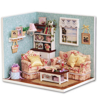 Wholesale Dollhouse Miniature Diy Kits - Wholesale-Handcraft DIY Wooden Miniature Dollhouse Furniture Kit Living Room Model With Cover Cute Handmake Model Gift English Instruction