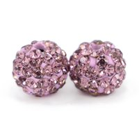 Wholesale Disco Balls Beads - Disco Ball Clay Beads Crystal fit Shamballa Ploymer Beads FUll Drilled 6 Rows Rhinestone For Jewelry Making 100pcs bag