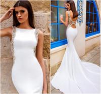 Wholesale Sexy Dress Low Back - Chic Modern Sheath Wedding Dress Satin Bateau Neckline Drop Waist Sexy Crystal Backless Elegant Low Back Beach Bridal Gowns 2016 Summer