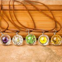 Wholesale Gemstone Flower Pendant - New popular women chokers necklaces Time gemstone crystal ball necklaces dried flowers pendant necklaces free shipping