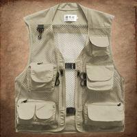 Wholesale Mesh Mens Vests - Fall-Men outdoor casual mesh multi pockets camperas hunting vest mens sport gilet homme work vest army military sleeveless jacket