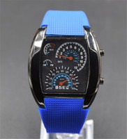Wholesale Dashboard Watch - LED Watch Dashboard Aviation Sector Men Sport Fashion Wristwatches For Like Auto Meter Silicone Battery Glass Watch
