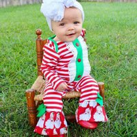 Wholesale Girls Red Lace Romper - INS christmas baby red white stripe romper girls cute santa claus print hollow lace falbala romper newborn kids party jumpsuits R0144