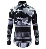 Wholesale New Fashion Camouflage Clothing - new fashion spring men's Designer Brand shirts mens club printed military Camouflage casual shirt man slim fit big size clothing