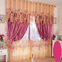 Wholesale Wholesaler Curtains - Luxury Living Room Bedroom Curtain Shading Blackout Window Curtains Embroidered Peony Printing Pattern Curtain Wholesale Per Meter #Gauze