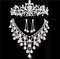 Wholesale bridal earrings headpiece - 2017 New Cheap Bling Silver Wedding Accessories Bridal Tiaras Neceklace Earring Crystal Rhinestone Headpieces Women Hair Crowns Jewelry