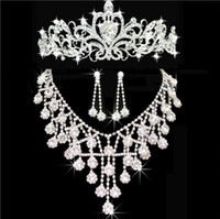 Wholesale headpieces flower crown resale online - 2020 Hot In Stock Bling Silver Wedding Accessories Bridal Tiaras Necklace Earring Crystal Rhinestone Headpieces Women Hair Crowns Jewelry