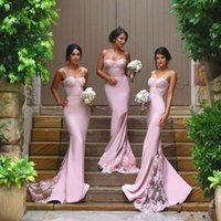 Pretty Bridesmaid Dress Long Backless Satin Formal Gowns Lilac Bridesmaid Dresses 2018 Mermaid WIth Appliques Кружевные спагетти