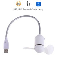 Wholesale Usb Mini Led Message Fan - Smart Mini USB Bluetooth LED Message Fan Flexible Gooseneck Programmable For PC Notebook Soft PVC Fan Blade Plug and Play Retail Packing
