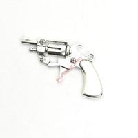 charmes d'armes achat en gros de-15pcs argent antique plaqué armes à feu pendentifs charmes pour la fabrication de bijoux de bracelet bricolage collier artisanat 40x26mm