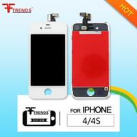 apple iphone 4s pantalla de reemplazo al por mayor-para el iPhone 4 4S pantalla LCD de pantalla táctil digitalizador de montaje completo piezas de repuesto precio bajo 100 unids / lote negro blanco envío gratis